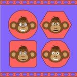 De reeks verschillende apen EPS 10 Stock Fotografie