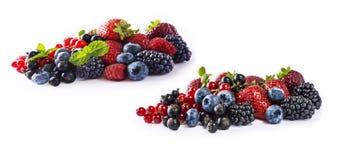 De reeks verse vruchten en bessen isoleerde een witte achtergrond Rijpe bosbessen, braambessen, bessen, frambozen en strawberrie Royalty-vrije Stock Foto