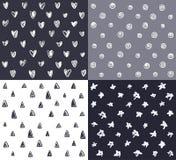 De reeks vier naadloze patronen met abstracte inkt overhandigt getrokken e Royalty-vrije Stock Foto