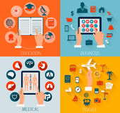 De reeks vlakke ontwerpachtergronden voor onderwijs, zaken, reist a Stock Foto's