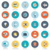De reeks vlakke ontwerppictogrammen voor zaken, betaalt per klik, creatief proces, het zoeken, Webanalyse, is de tijd geld stock illustratie