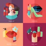 De reeks vlakke pictogrammen van het ontwerpconcept voor maakt omhoog Royalty-vrije Stock Foto