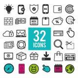 De reeks vlakke pictogrammen voor Web, mobiele apps en de interface ontwerpen: het bedrijfsfinanciën winkelen de communicatie med Stock Afbeeldingen