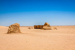 De reeks voor de Star Wars-film bevindt zich nog in de Tunesische woestijn Royalty-vrije Stock Foto's
