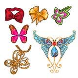 De reeks voorwerpen op het thema van vlinders op een witte achtergrond wordt geïsoleerd die De vectorillustratie van het beeldver Stock Afbeeldingen