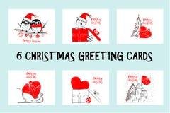 De reeks Vrolijke kaarten van de Kerstmisgroet overhandigt getrokken met zwarte en rode inktpennen voor het houden van van vakant Stock Foto