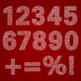 De reeks witte vector openwork cijfers van nul tot negen en tekens vulde met een patroon op een Nieuwjaarthema Royalty-vrije Stock Afbeelding
