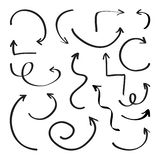 De reeks zwarte pijlen, hand trekt Vector illustratie stock illustratie