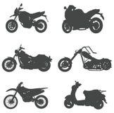De reeksen silhouetmotorfietsen, leiden tot door vector Stock Afbeelding