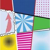 De reeksen van de pop-artinzameling van negen heldere achtergronden voor ontwerpprojecten Stock Fotografie