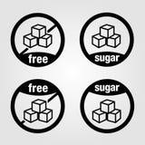 De reeksen van ized pictogrammen voor voedsel met suiker en suikervrij voedsel stock foto