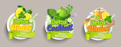 De reeksetiketten van de Detoxcocktail Stock Foto