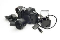 De reflex van de Phographiccamera met doelstelling, lithiumbatterijen, BR c royalty-vrije stock afbeeldingen