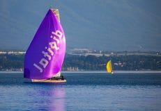 De regatta van de Zeilboot van Rolex Bol d'Or, Meer Genève Stock Foto