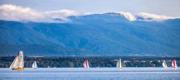 De regatta van de Zeilboot van Rolex Bol d'Or, Meer Genève Royalty-vrije Stock Afbeeldingen