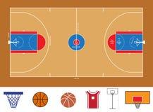 De regeling en het materiaalpictogrammen van het basketbalhof Stock Foto