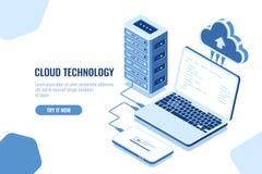 De regeling van gegevenstransmissie, isometrische veilige verbinding, wolk gegevensverwerking, serverruimte, datacenter en databa vector illustratie