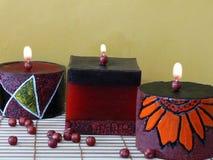 De regeling van kaarsen stock afbeeldingen