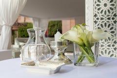 De regeling van de luxelijst voor een diner Stock Afbeeldingen