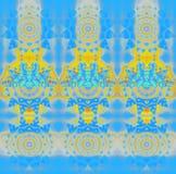 De regelmatige concentrische cirkel siert geeloranje blauw grijs turkoois Stock Foto