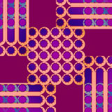 De regelmatige concentrische cirkels en strepenpatroon violette oranje abrikoos kleurt purple op rood viooltje Royalty-vrije Stock Foto's