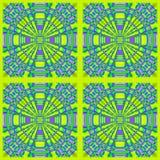 De regelmatige concentrische cirkels sieren purpere citroenkalk groen in ontworpen vierkanten Royalty-vrije Stock Foto's
