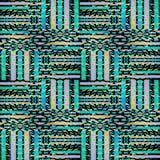 De regelmatige naadloze ingewikkelde turkooise blauwe purpere beige verplaatste zwarte van het strepenpatroon Stock Foto's