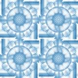 De regelmatige ronde ornamenten ANS regelt patroon lichtblauw op wit Stock Foto's