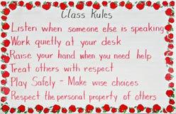 De regels van het klaslokaal stock afbeeldingen