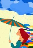 De regen met een parapluvrouw Stock Afbeeldingen