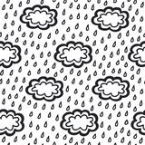 De regen naadloos patroon van krabbel eenvoudig wolken Stock Foto's