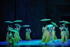 De regen sloeg op de banaan de blad-tweede handeling van de gebeurtenissen van dans drama-Shawan van het verleden Stock Afbeelding