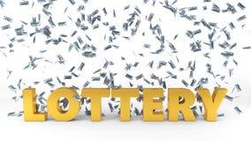De regen van het dollarbankbiljet over loterijtekst 3D Illustratie Stock Foto