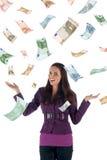 De regen van het geld (euro bankbiljetten) Royalty-vrije Stock Afbeeldingen