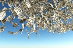 De regen van het honderd dollarsbankbiljet Stock Afbeelding