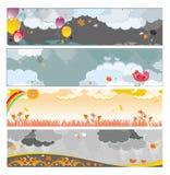 De regenachtige banners van de herfst Royalty-vrije Stock Afbeeldingen