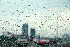 De regenachtige dag van het verkeer Stock Afbeelding