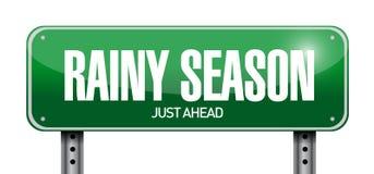 De regenachtige illustratie van de seizoen enkel vooruit weg Stock Afbeeldingen