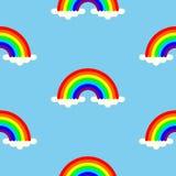 De regenbogen in wolken kleurden naadloze achtergrond vector illustratie