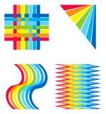 De regenboog kleurde decoratieve elementen Royalty-vrije Stock Afbeeldingen