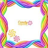 De regenboog kleurt de vectorachtergrond van suikergoedkabels Stock Foto