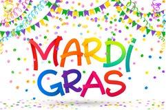 De regenboog kleurt Mardi Gras-teken op kleurrijke confettien, Carnaval-vlaggen en kronkelweg op witte achtergrond royalty-vrije illustratie