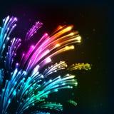 De regenboog kleurt neon vectorvuurwerk Stock Afbeelding
