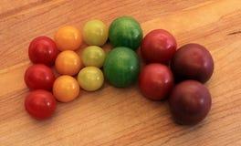 De regenboog van de kersentomaat Stock Foto