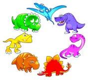 De regenboog van dinosaurussen. Stock Foto