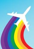 De regenboog van het vliegtuig Stock Foto