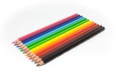 De regenboog van potloden Stock Fotografie
