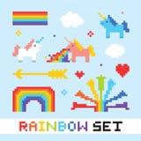 De regenboog vectorreeks van de pixelkunst vector illustratie