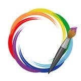 De regenboogachtergrond van de verfborstel. Royalty-vrije Stock Foto
