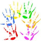 De regenboogkleuren van de handdruk, het patroon van de huidtextuur Royalty-vrije Stock Foto's